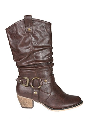 Refresh Women Wild-02 Western Style Cowboy Boots,Brown,7.5