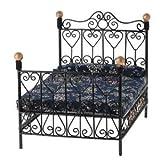 Alcoa Prime Black Metal Double Bed 1/12 Dollhouse Mini Furniture Bedroom Decor