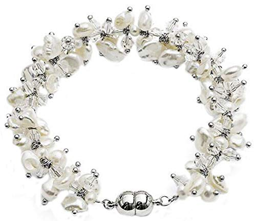 Pearls of the Orient Womens Keishi Pearl and Crystal Bracelet - White