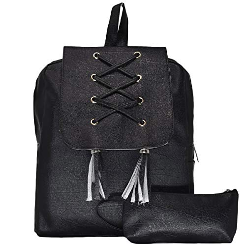 Typify Artificial Leather Women's Combo Backpack Black Unique Design College School Casual Bag- Set of 2 Wallet