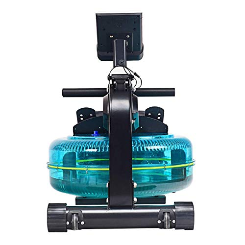 Home Fitness Office Gym Adjustable Resistance Water Wheel Indoor Rowing Machine LCD Monitor & Heart Rate Sensor ()