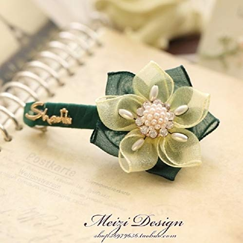Classic Butterfly Knot Hairpin Headdress DIY Green Models Camellia Silk Yarn Hair Trim Hair Clip Barrette top Folder 1078 (Green -