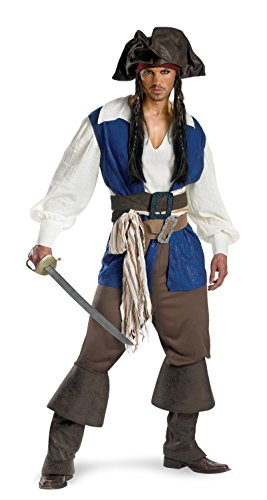 Jack Sparrow Beard Costume (5035 (Medium 38-40) Captain Jack Sparrow Deluxe Adult Costume Jack Sparror Costume)