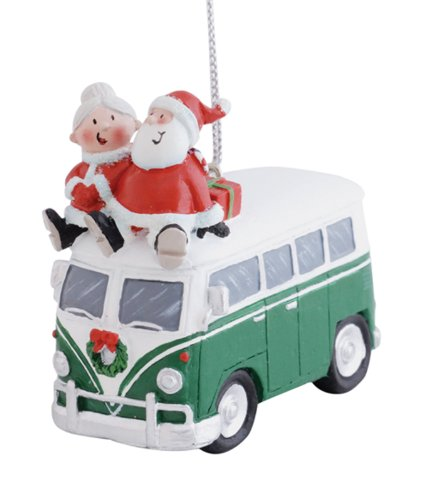(Cape Shore Santa and Mrs. Claus Riding on Top of Vw Bus Christmas Holiday Ornament)