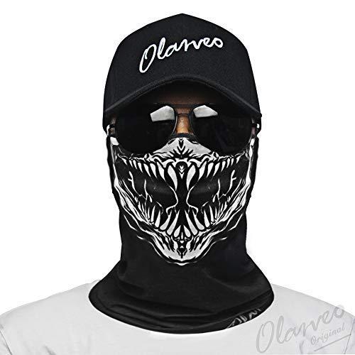 Olarveo Tube Skull Mask Seamless Durable Bandana Skeleton Half Face Mask Dust-Proof Windproof Motorcycle Bike Riding Fishing Hunting Cycling Festival Multifunctional Headwear Scarf Neckwarmer (Bandana Joker)