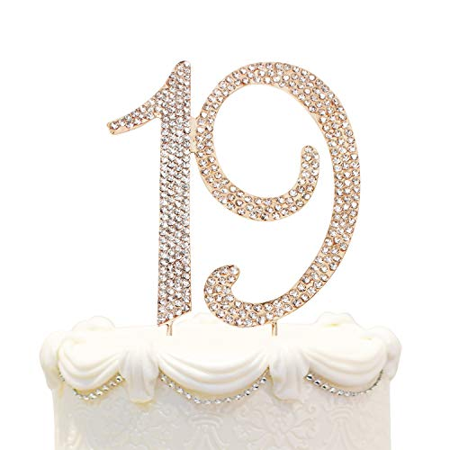 Hatcher lee Bling Crystal 19 Birthday Cake Topper - Best Keepsake | 19th Party Decorations Gold