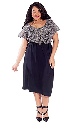 IGIGI Women's Plus Size Ally Midi Dress in Raven Daisy 30/32