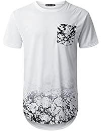 Mens Hipster Hip Hop Graphic Pocket Longline T-Shirt (Various Style)