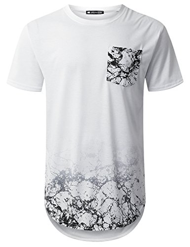 URBANTOPS Mens Hipster Hip Hop Graphic Pocket Longline T-Shirt (Various Style)