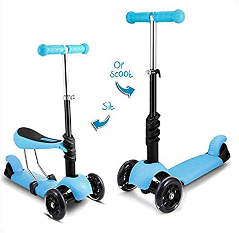 2-in-1 Kick Scooter with Removable Seat Great for Kids & Toddlers Girls or Boys – Adjustable Height w/Extra-Wide Deck PU Flashing Wheels for Children ...