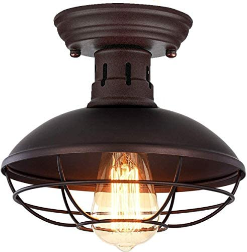 Retro Barn Ceiling Light-Easric Vintage Industrial Wrought Iron Material Decoration Fixture Cage Cover Rustic Semi Flush Mounted Pendant Lighting Dome Bowl Shaped Lamp