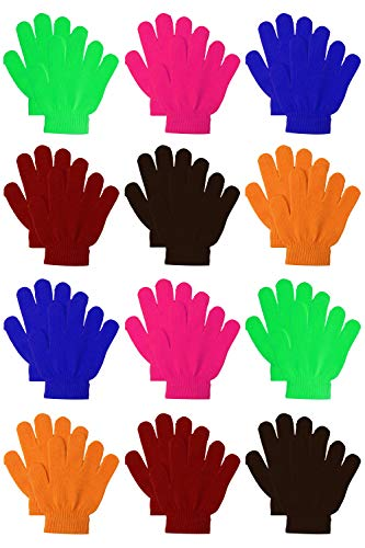 Coobey 12 Pairs Kids Warm Magic Gloves Teens Winter Stretchy Knit Gloves Boys Girls Knit Gloves (Mixed 6 Color A, 12-16 Years)