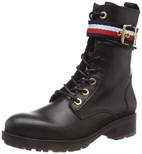 Hilfiger Belt Corporate 990 black Femme Bottes Biker Rangers Boot Noir Tommy UqdaExU