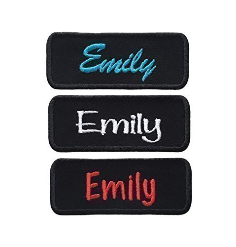 Custom Name Patch Embroidered Personalized Tag *Black* Choose Font and Thread Color - Iron Or Sew On (1 Patch) -