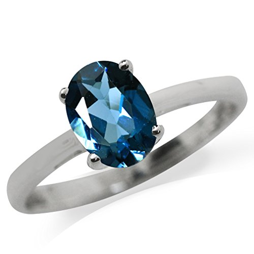 on Blue Topaz 925 Sterling Silver Solitaire Ring Size 9 (London Blue Topaz Solitaire Ring)