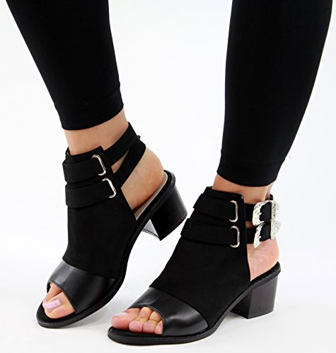 New Womens Mid Block Heel Sandals Peep Toe Buckle Ankle Strap Comfy Shoes Black N9DQJJB1o