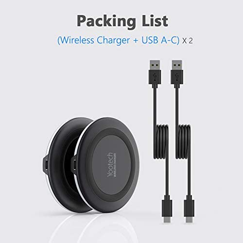 Yootech [2 Pack] Wireless Charger,Qi-Certified 10W Max Fast Wireless Charging Pad Compatible with iPhone 12/12 Mini/12 Pro Max/SE 2020/11 Pro Max, Samsung Galaxy S20/Note 10,AirPods Pro(No AC Adapter)