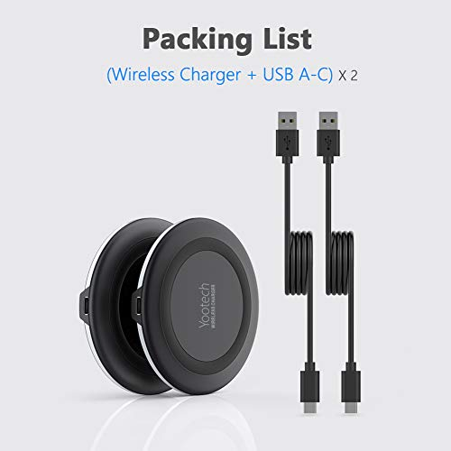 Yootech [2 Pack] Wireless Charger,Qi-Certified 10W Max Fast Wireless Charging Pad Compatible with iPhone 12/12 Mini/12 Pro Max/SE 2020/11 Pro Max, Samsung Galaxy S21/Note 10,AirPods Pro(No AC Adapter)