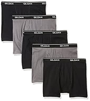 Gildan Platinum Mens 5-Pack Short Leg Boxer Brief Boxer Briefs - Multi - Small Black/Charcoal