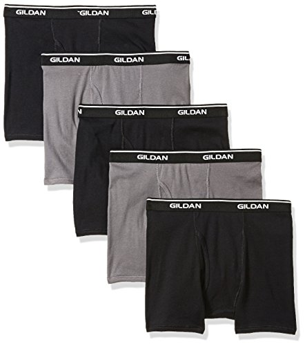 Gildan Platinum 5-Pack Short Leg Boxer Brief Black/Charcoal L