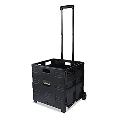 """Universal Collapsible Mobile Storage Crate, 18 1/4""""x15""""x18 1/4"""" to 39 3/8"""", Black (14110)"""