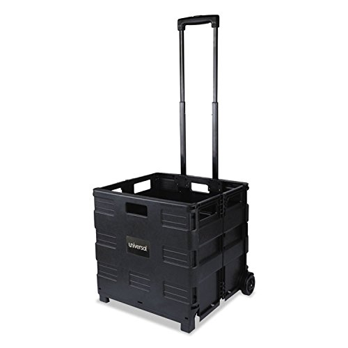 Universal Collapsible Mobile Storage Crate, 18 1/4''x15''x18 1/4'' to 39 3/8'', Black (14110) by Universal