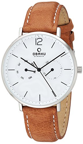 Obaku Quartz Stainless Steel and Leather Dress Watch, Color:Brown (Model: V182GMCWRZ)
