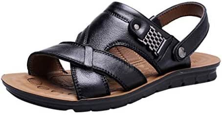 Corriee Fisherman Genuine Leather Breathable Sandals Mens Adjustable Breathable Shoes Summer Beach Walking Slippers