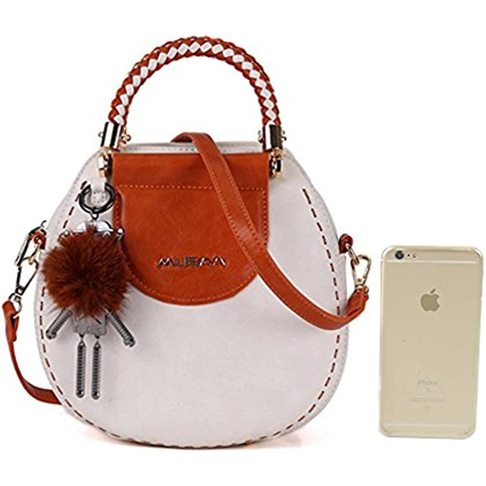 1680fa702e90 Details about Vintage Shoulder Bags Round Shape PU Leather Spell Color  Totes Cross-body For