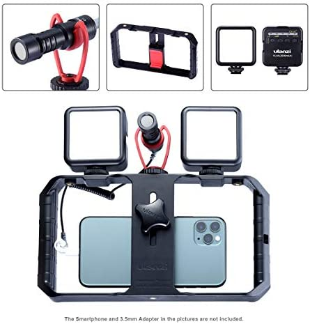 ULANZI Kit de vídeo para smartphone (incluye 2 luces LED de vídeo + micrófono de vídeo, instalación de películas de teléfono, equipo de para iPhone 11, Pro Max XS 8, Samsung Google