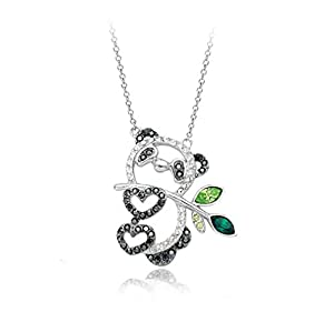 White Gold Plated Hollow Style Happy Panda Pendant Necklace with Swarovski Elements Crystal Fashion Jewelry