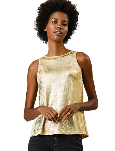 Allegra K Women's Metallic Shiny Tank Top Party Club A-Line Shimmer Camisole Vest Gold XL (US 18)