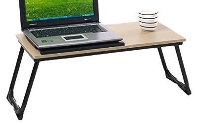 FurnitureR Laptop Table, Adjustable Computer Desk, Bed Tray Stand, Cart Notebook Beech