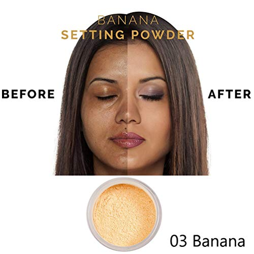 PHOERA Face Powder, Firstfly Loose Face Powder Translucent Smooth Setting Foundation Makeup, 1.02 Oz (#03 Banana)
