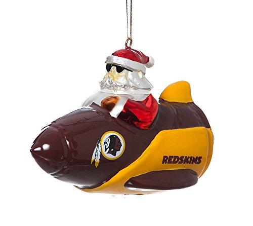 Team Sports America NFL Washington Redskins Glass Rocket Santa Christmas Ornament, Small, Multicolored]()