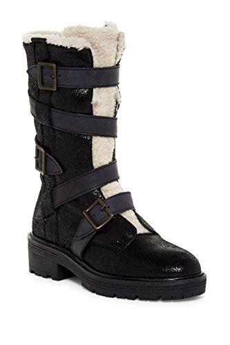 Kelsi Dolk Brooklyn Moore Zwart Echt Shearling Detail Gesp-boot