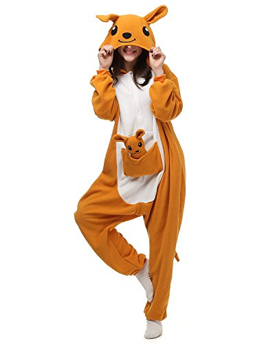 [Adult Kangaroo Onesie Halloween Kigurumi Costume Pajamas Partywear Outfit for Women Men S] (Animal Costumes Coupon Code)