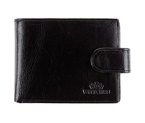 Wittchen Brieftasche | Farbe: Schwarz| Material: Narbenleder| Größe: 12x9,5 CM, | Orientierung: Horizontal | Kollektion: Italy| 21-1-127-1