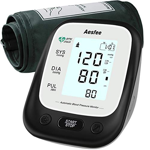 Blood Pressure Monitor Upper Arm with Large Cuff, Digital Blood Pressure & Heart Rate Pulse Monitors Accurate Automatic BP Machine for Home Use, Dual User 2 x 90 Memories, Backlit Display