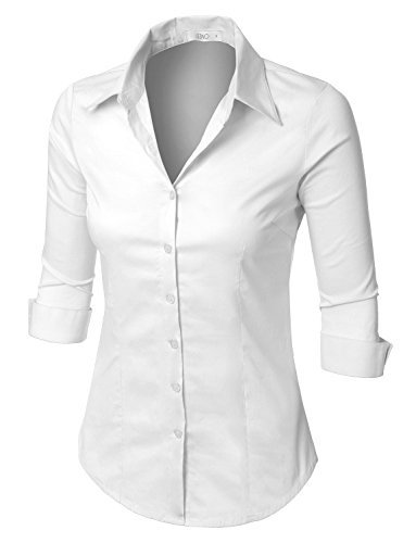 400f2d4c LE3NO Womens Roll Up 3/4 Sleeve Button Down Shirt with Stretch,  L3NWT574A_WHITE,