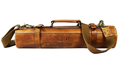 Leather Knife Roll Storage Bag | Elastic and Expandable 10 Pockets | Adjustable/Detachable Shoulder Strap | Travel-Friendly Chef Knife Case Roll By Aaron Leather (Caramel, Leather) (Top Ten Best Pocket Knives)