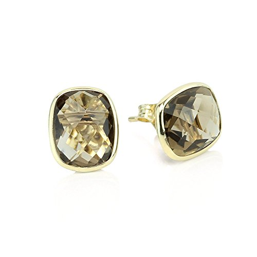 14k Yellow Gold Stud Earrings With Cushion Cut Smoky Quartz - Gemstone Studs