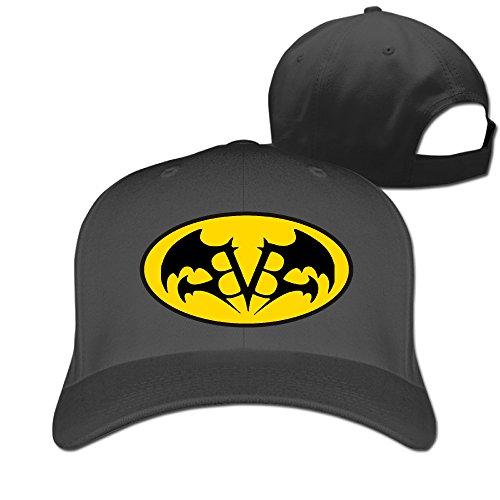 (Adult Rock Band BLACK Bat Wings Adjustable Fitted Peak Cap Black)
