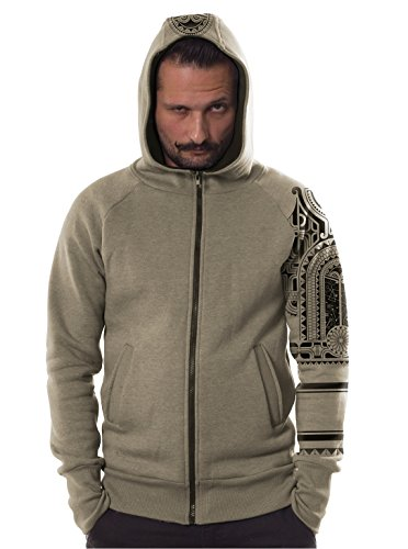 Street Habit Men's Maori Tattoo Hoodie Print Tribal Festival Sand Zip-Up Heavy Pullover Small