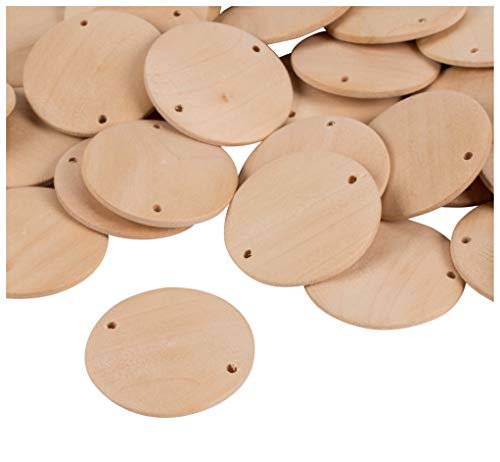 Wood Discs with Holes- 80-Piece Natural Wooden Coins, Wood Circles, Round Wooden Charms for DIY Decoration, Craft, Birthday Board Tags, Pendants Making, 1.5 Inches Diameter