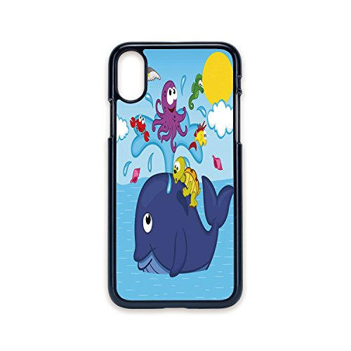 Phone Case Compatible with iPhone X 2D Print Black Edge,Whale,Marine Gang Octopus Crab Turtle Seahorse Pacific Sun Underwater Ocean Playroom Design,Multicolor,Hard Plastic Phone Case (Crab Luna Apple)