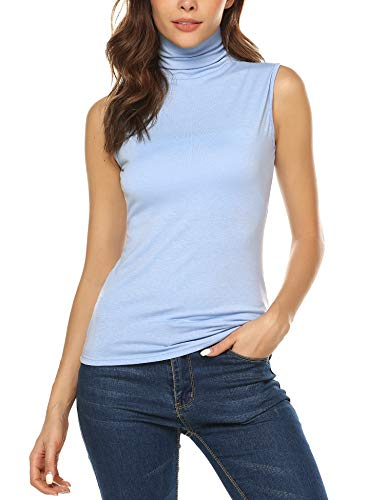 URRU Women's Sleeveless Slim Fit Turtleneck Mock Soft T-Shirt Tank Tops Basic Stretchy Pullover Blue - Plus Size Mock Cotton Turtleneck