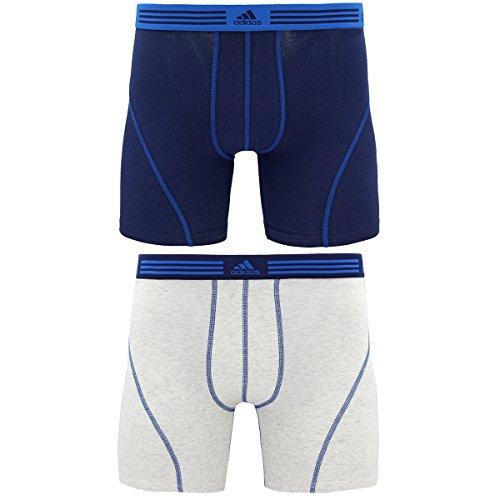 Adidas Mens Plush (adidas Men's Athletic Stretch Boxer Brief Underwear (2-Pack), Collegiate Navy/Shock Blue Heather White/Collegiate Navy, X-Large)