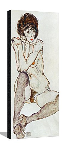 Seated Female Nude, Elbows Resting on Right Knee, 1914 Stretched Canvas Print by Egon Schiele - 15.5 x 35 in