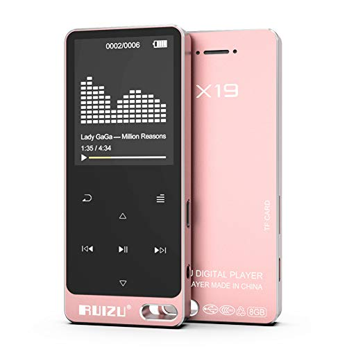 RUIZU X19 8GB MP3 Player, Built-in Speaker Metal Style with FM Radio, Voice Recorder, E-Book, Touch Button with 1.8'' Screen, 128GB Micro SD Card Support, Rose (Gold Collection Bookmarks)